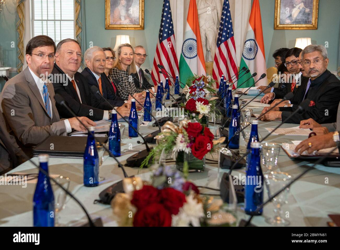 Secretary Pompeo and Secretary of Defense Esper Host the India 2+2 Ministerial Dialogue Secretary of State Michael R. Pompeo and Secretary of Defense Mark T. Esper host the India 2+2 Ministerial Dialogue at the U.S. Department of State, in Washington, DC, on December 18, 2019. Stock Photo