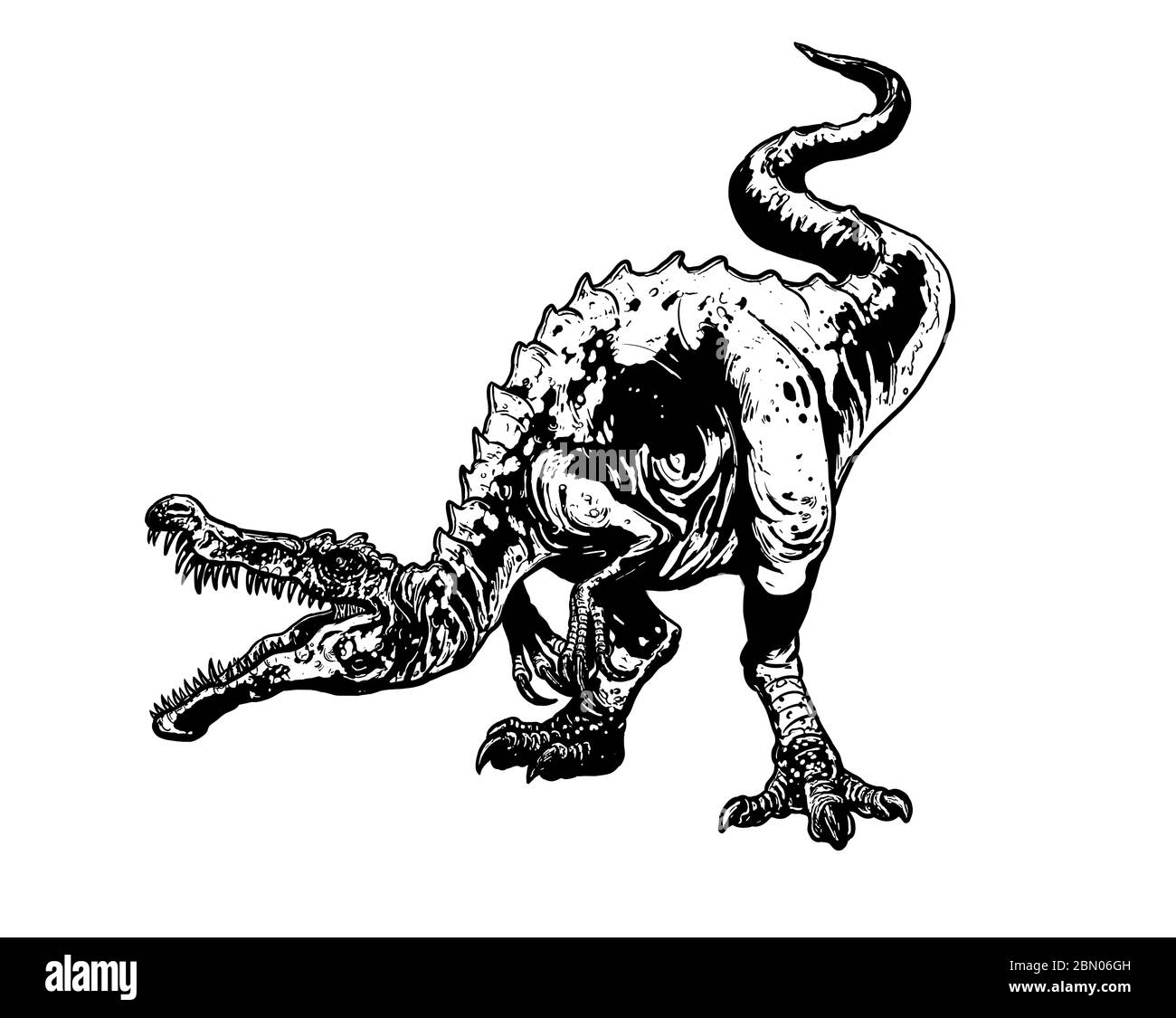 Carnivorous Dinosaur Baryonyx Dino Attack Isolated Drawing Coloring Page For Kids And Adults Stock Photo Alamy