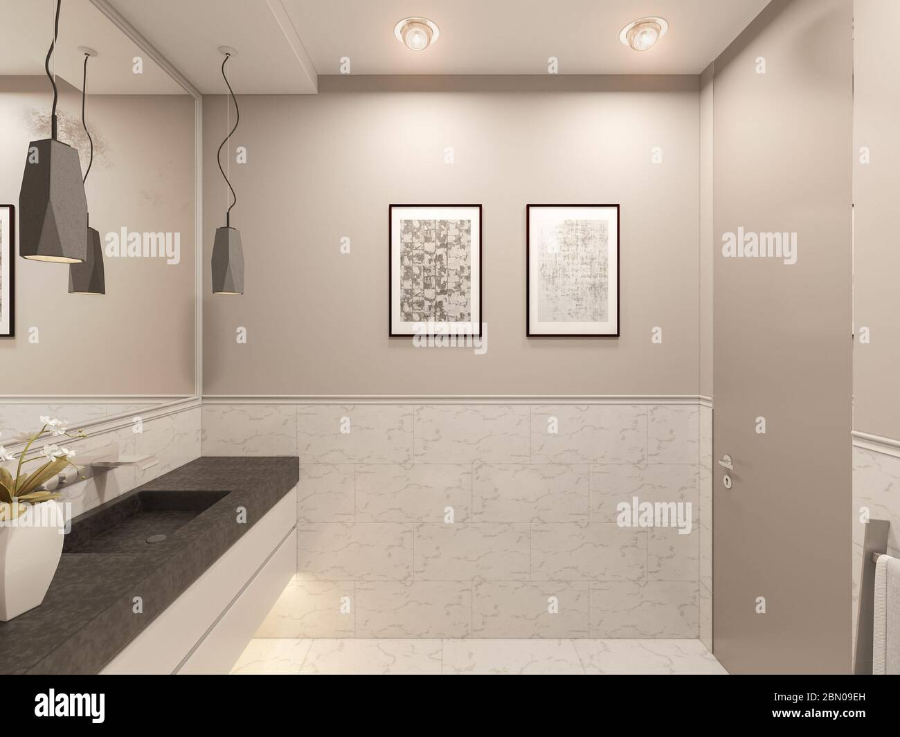 3d Render Interior Of The Toilet In A Private Cottage Toilet Interior Design Illustration In Traditional Modern American Style Bathroom Design Stock Photo Alamy
