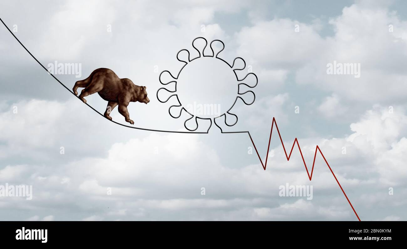 Bear market virus pandemic outbreak business concept of a financial risk as a bearish stock market symbol on a tight rope shaped as a virus. Stock Photo