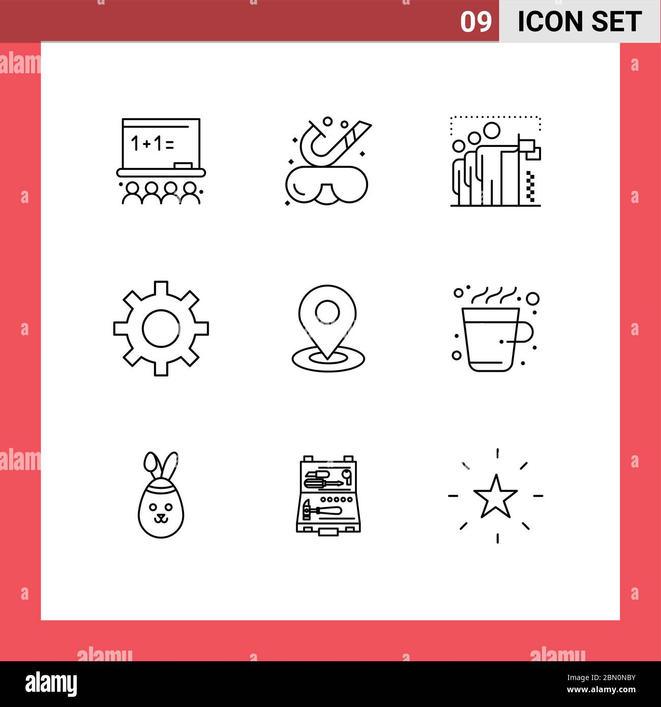 9 Universal Outlines Set for Web and Mobile Applications map, gear, flag, security, position Editable Vector Design Elements Stock Vector