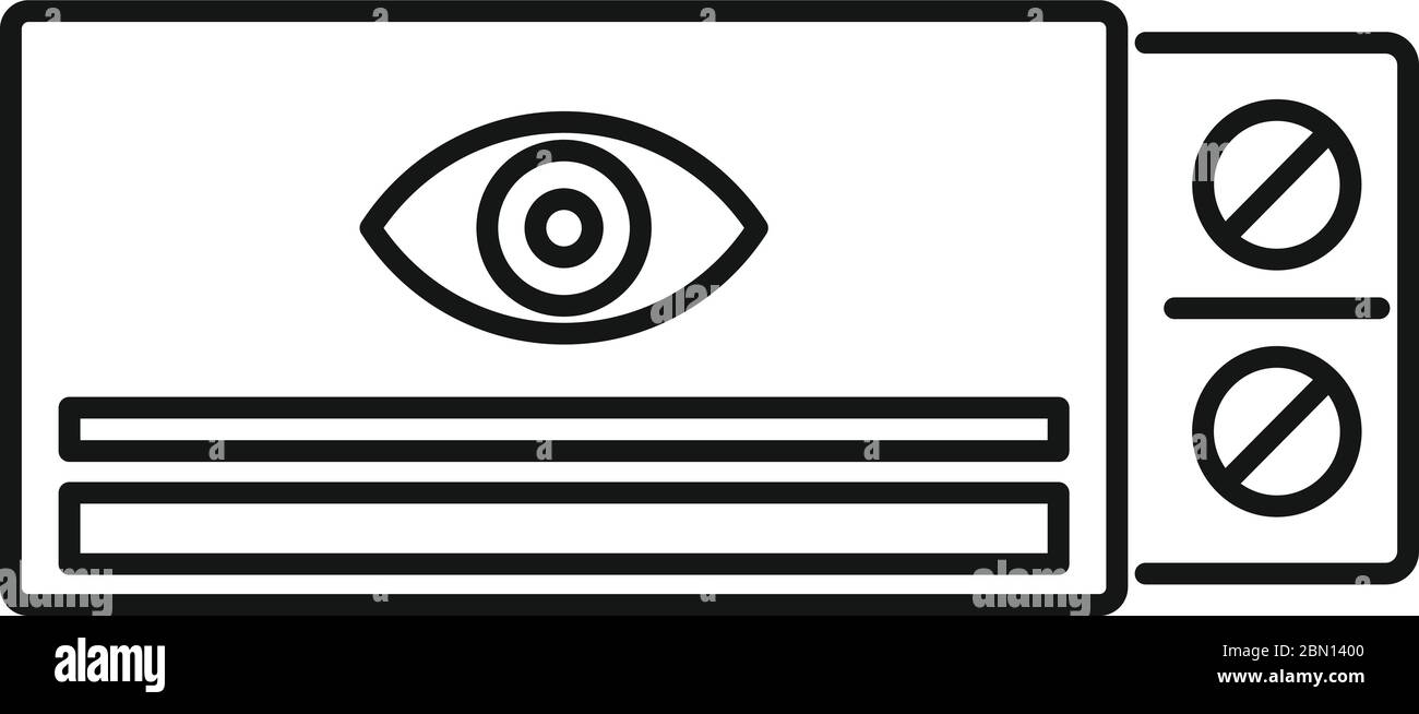Eye care pill icon. Outline eye care pill vector icon for web design isolated on white background Stock Vector