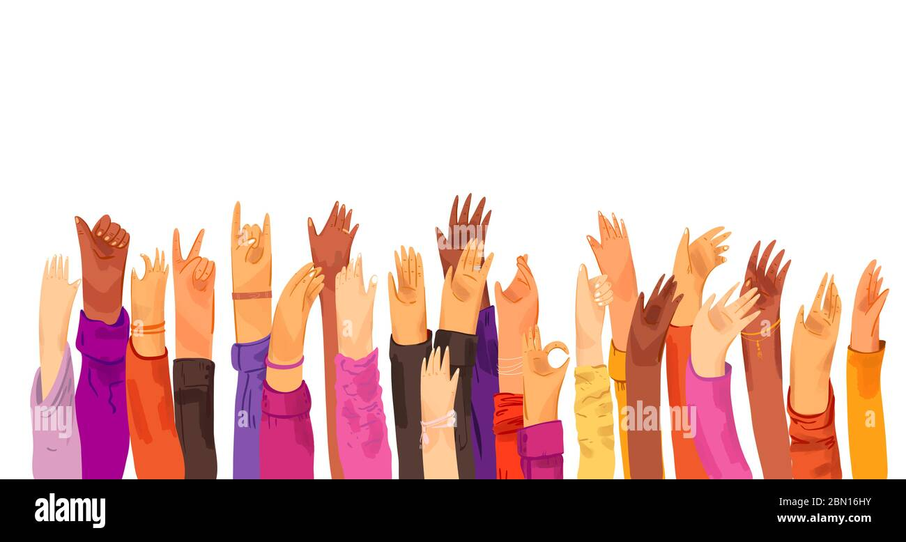 Vector flat illustration of raised up human hands, multiracial. Concept of education, business training, volunteers, voting - raised hands in croud Stock Vector