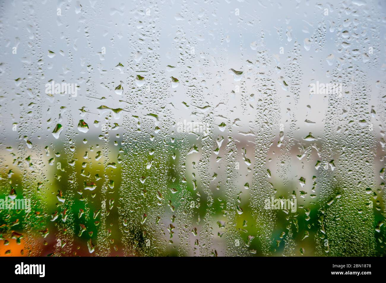 background of water drops on the window Stock Photo