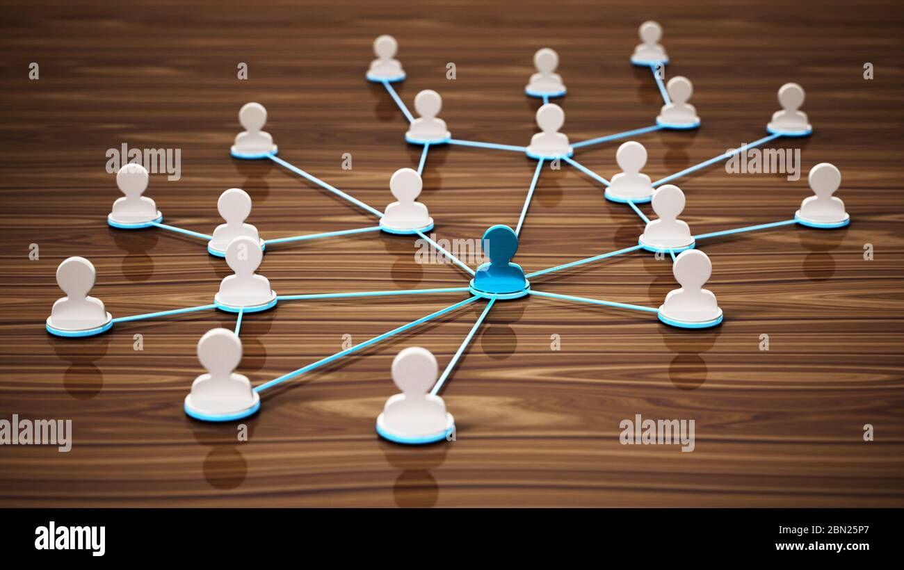 Lines connecting white 3D head symbols. Connectivity and network concept. 3D illustration. Stock Photo