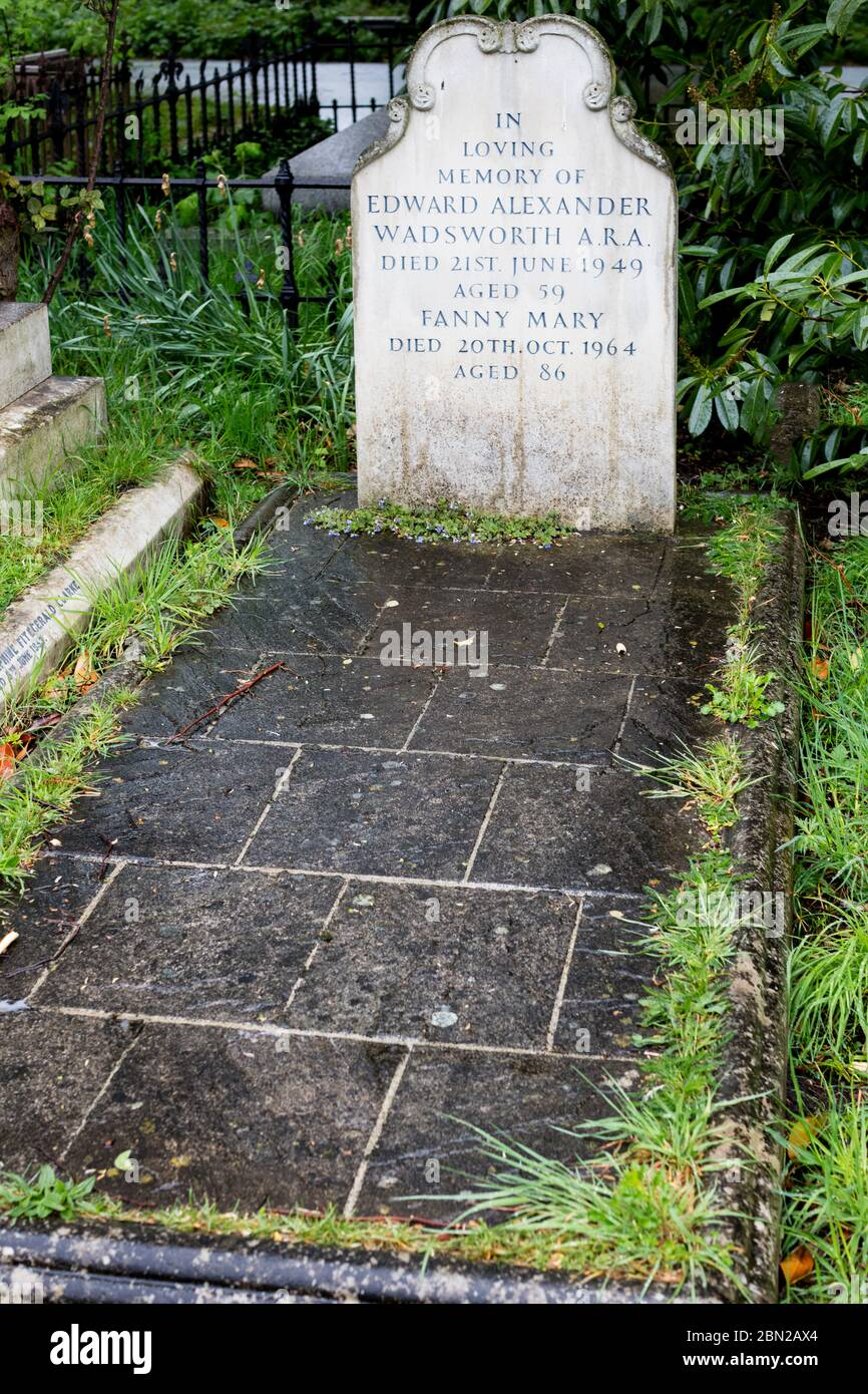 Grave of Edward Wadsworth, ARA in Brompton Cemetery, Kensington, London; one of the 'Magnificent Seven' London cemeteries. Stock Photo