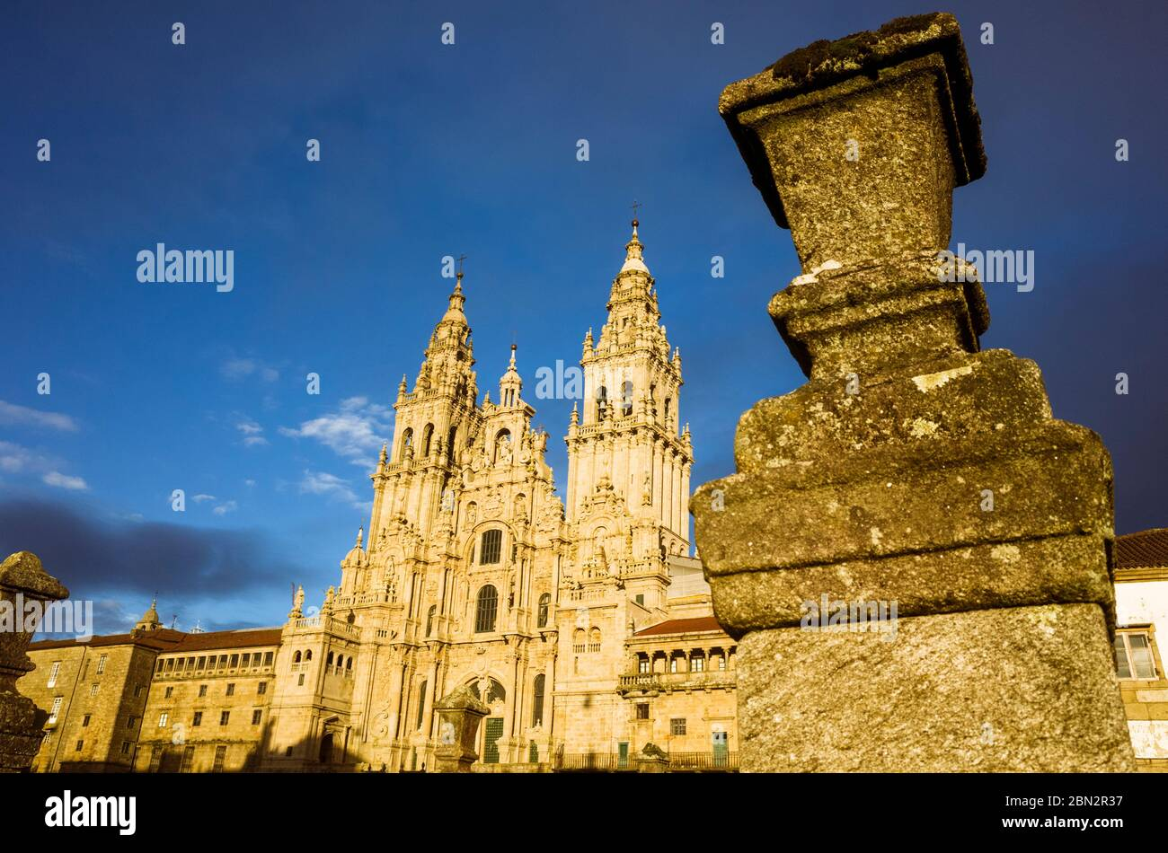 Santiago de Compostela, A Coruña province, Galicia, Spain - February 12th, 2020 : Baroque Obradoiro facade of the compostela Cathedral, the reputed bu Stock Photo