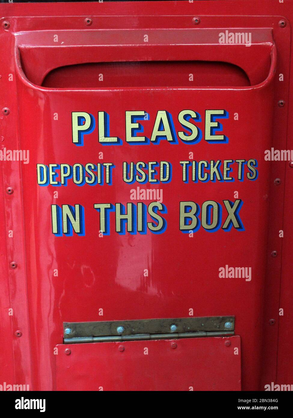 92 bus,Bury to Manchester Piccadilly,Greater Manchester, England, UK, Please deposit used tickets,in this box, Stock Photo