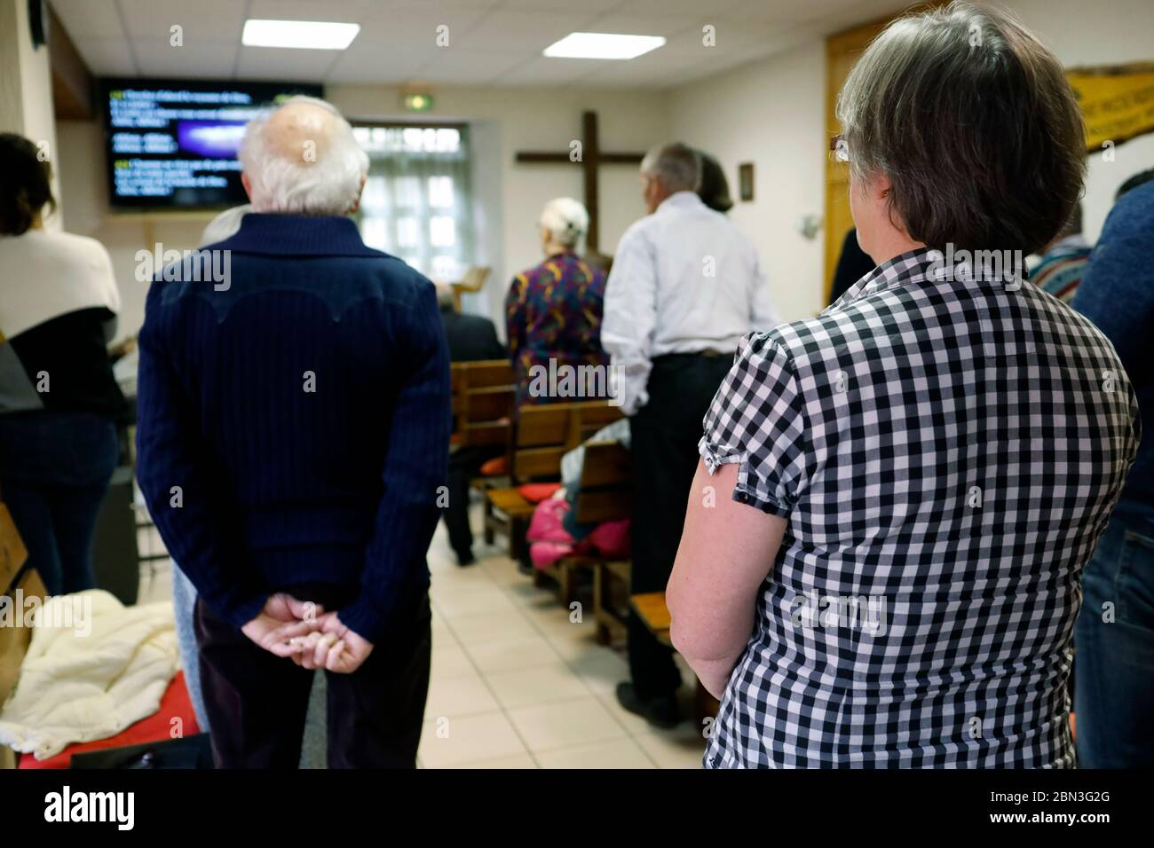 Protestant Evangelical Church. Sunday service. Cluses. France. Stock Photo