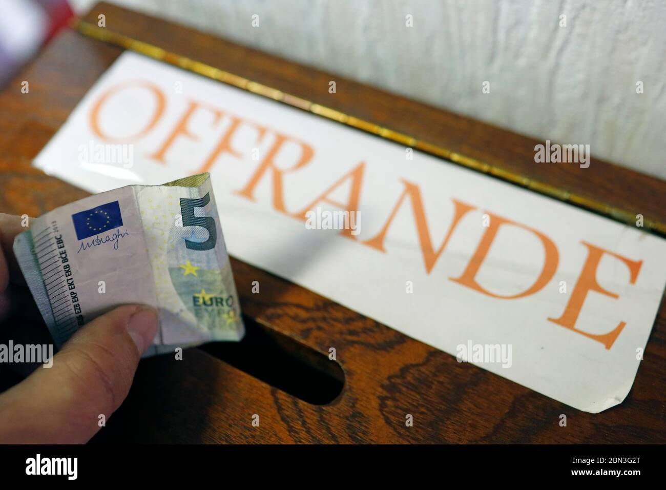 Protestant Evangelical Church. Offerings box. Cluses. France. Stock Photo