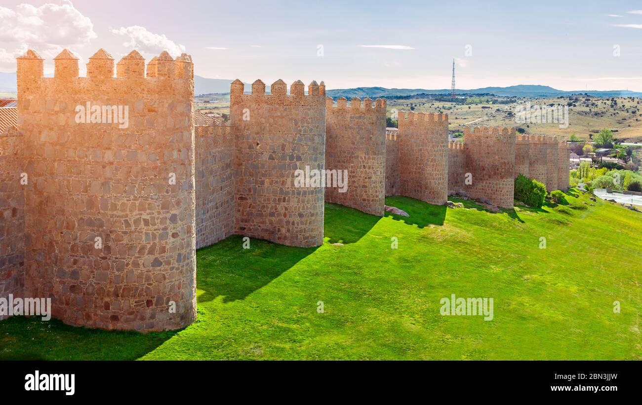 Walls of Avila, Castilla y Leon, Spain . Fortified building. Stock Photo