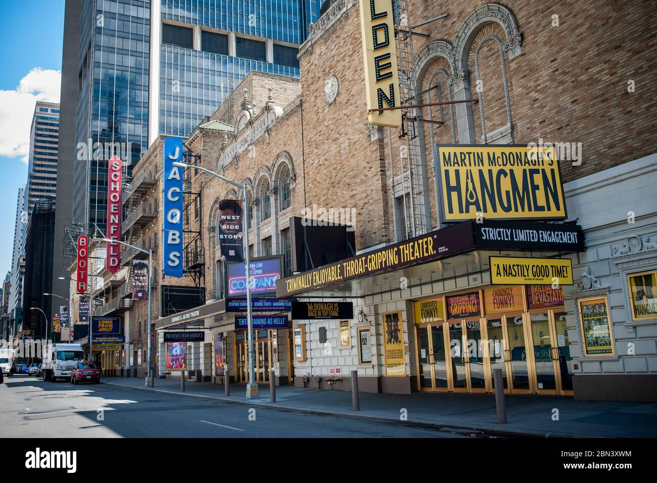 Closed Broadway theatres in New York because of the COVID-19 pandemic on Thursday, May 7, 2020.  (© Richard B. Levine) Stock Photo