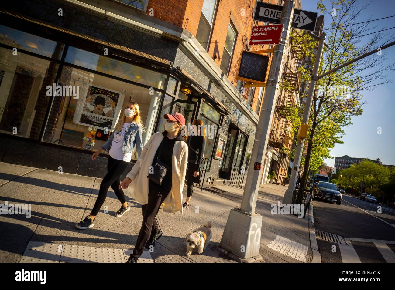 People outside in the Greenwich Village neighborhood in New York on Sunday, May 10, 2020. (© Richard B. Levine) Stock Photo