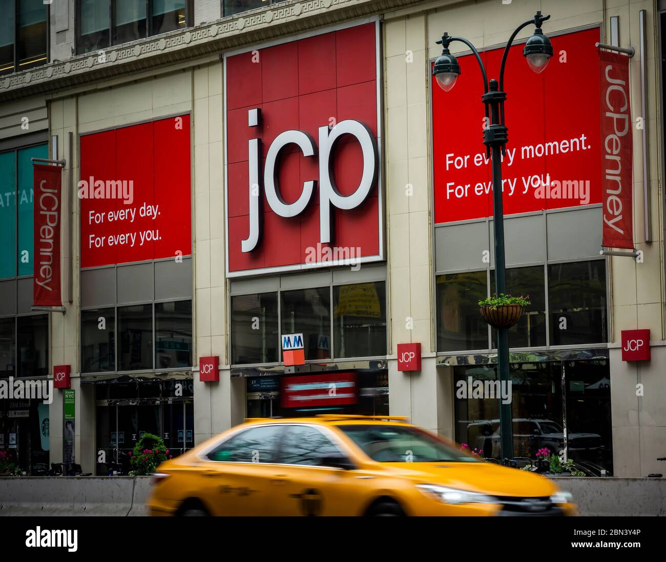 The JCPenney store in Herald Square in New York on Friday, May 8, 2020. The J.C. Penney Co. is reported to be preparing to file for bankruptcy protection as early as next week. (© Richard B. Levine) Stock Photo