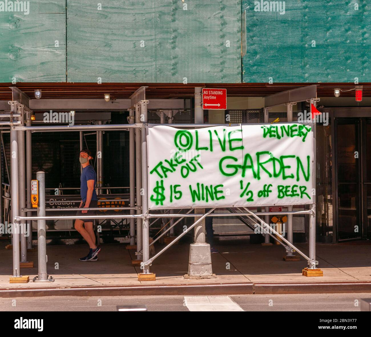 The Olive Garden hand drawn advertisement for their take-out and delivery service in Times Square in New York during the COVID-19 pandemic on Thursday, May 7, 2020.  (© Richard B. Levine) Stock Photo