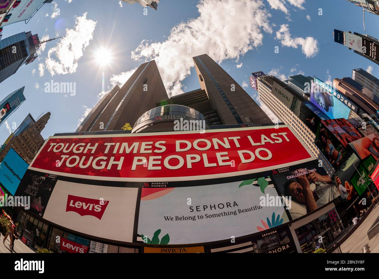 Public service announcement in an empty Times Square in New York during the COVID-19 pandemic on Thursday, May 7, 2020.  (© Richard B. Levine) Stock Photo