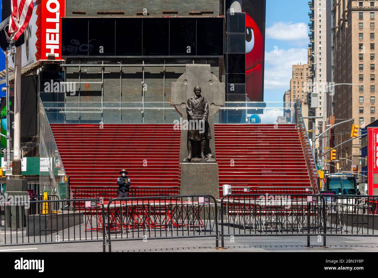 "The closed ""Red Steps"" in Times Square in New York during the COVID-19 pandemic on Thursday, May 7, 2020.  (© Richard B. Levine) Stock Photo"