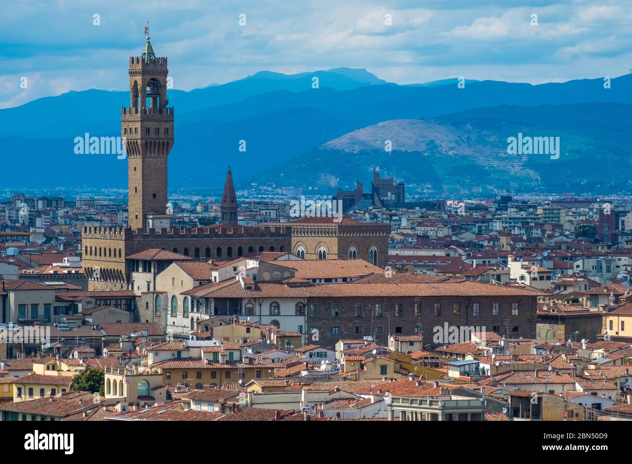 Florence, Italy - August 16, 2019: View of Florence Skyline with Palazzo Vecchio and landscape of Tuscany, Italy Stock Photo