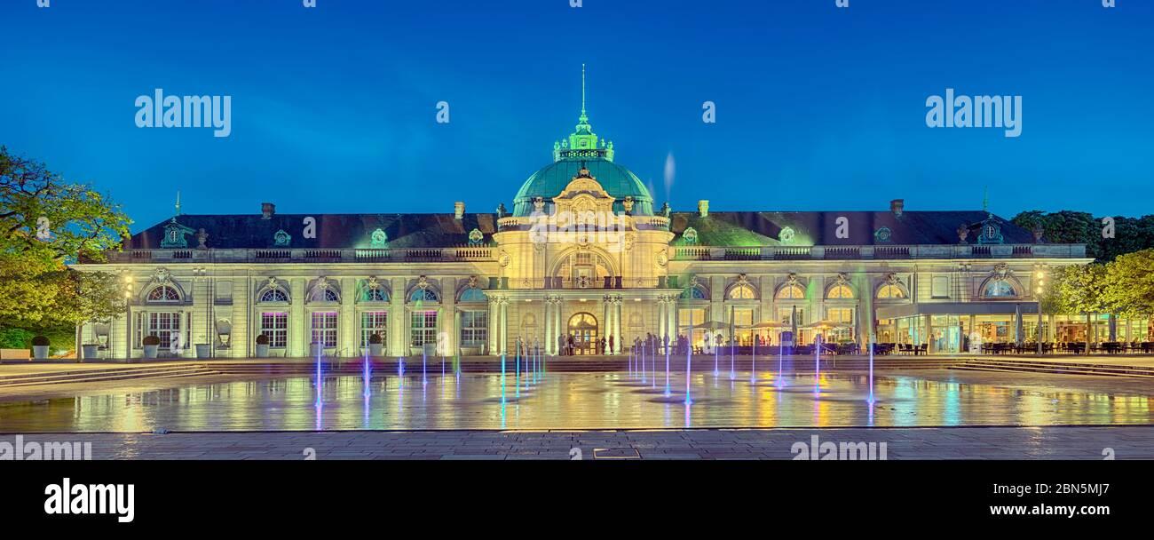Illuminated spa gardens, Kaiserpalais, Panorama, Bad Oeynhausen, Germany Stock Photo