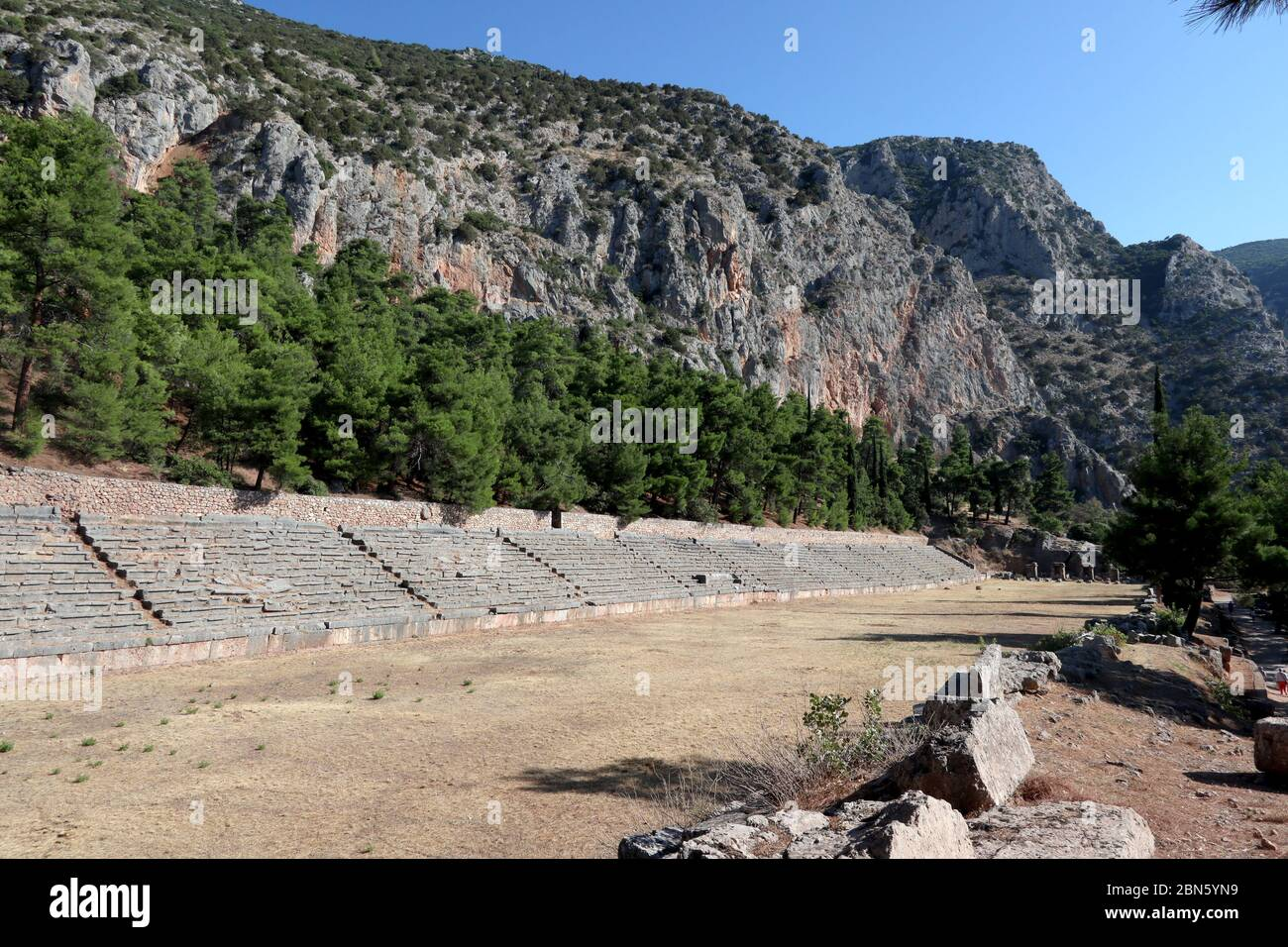 The stadium, Delphi, Greece Stock Photo
