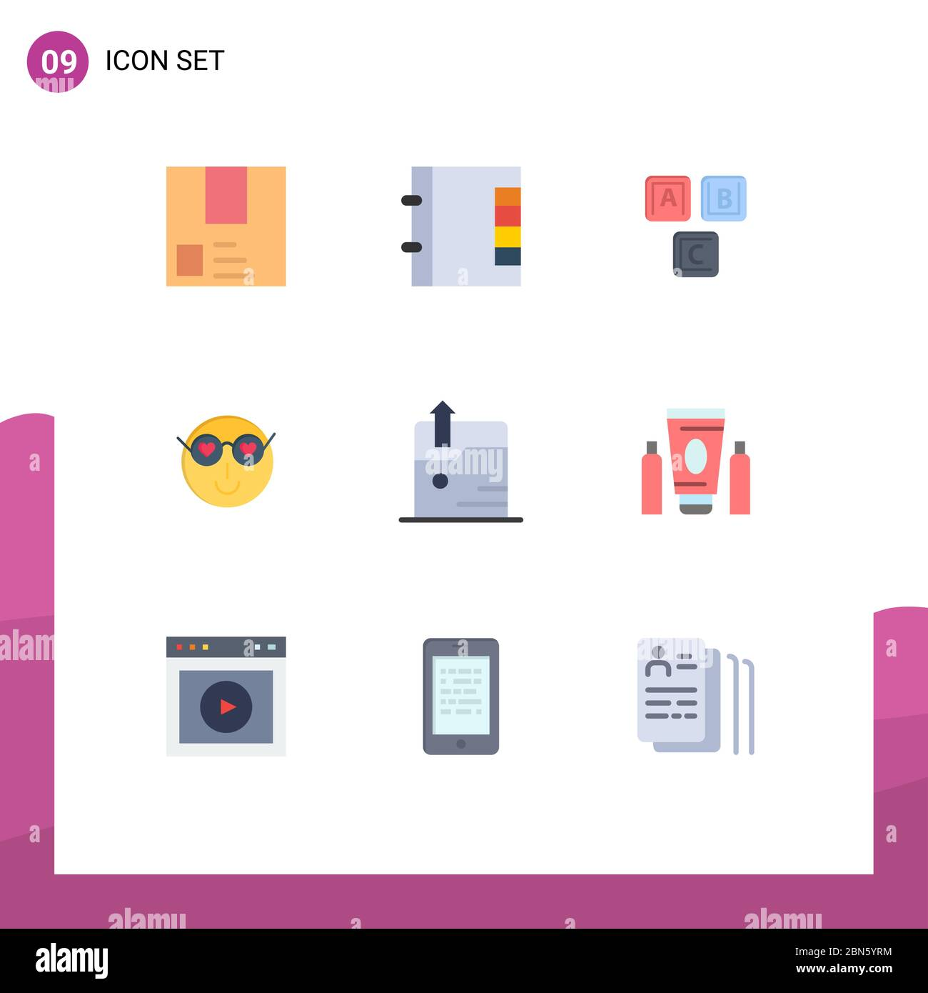 Modern Set Of 9 Flat Colors And Symbols Such As Cute Emoji Phone Smiley Alphabet Editable Vector Design Elements Stock Vector Image Art Alamy