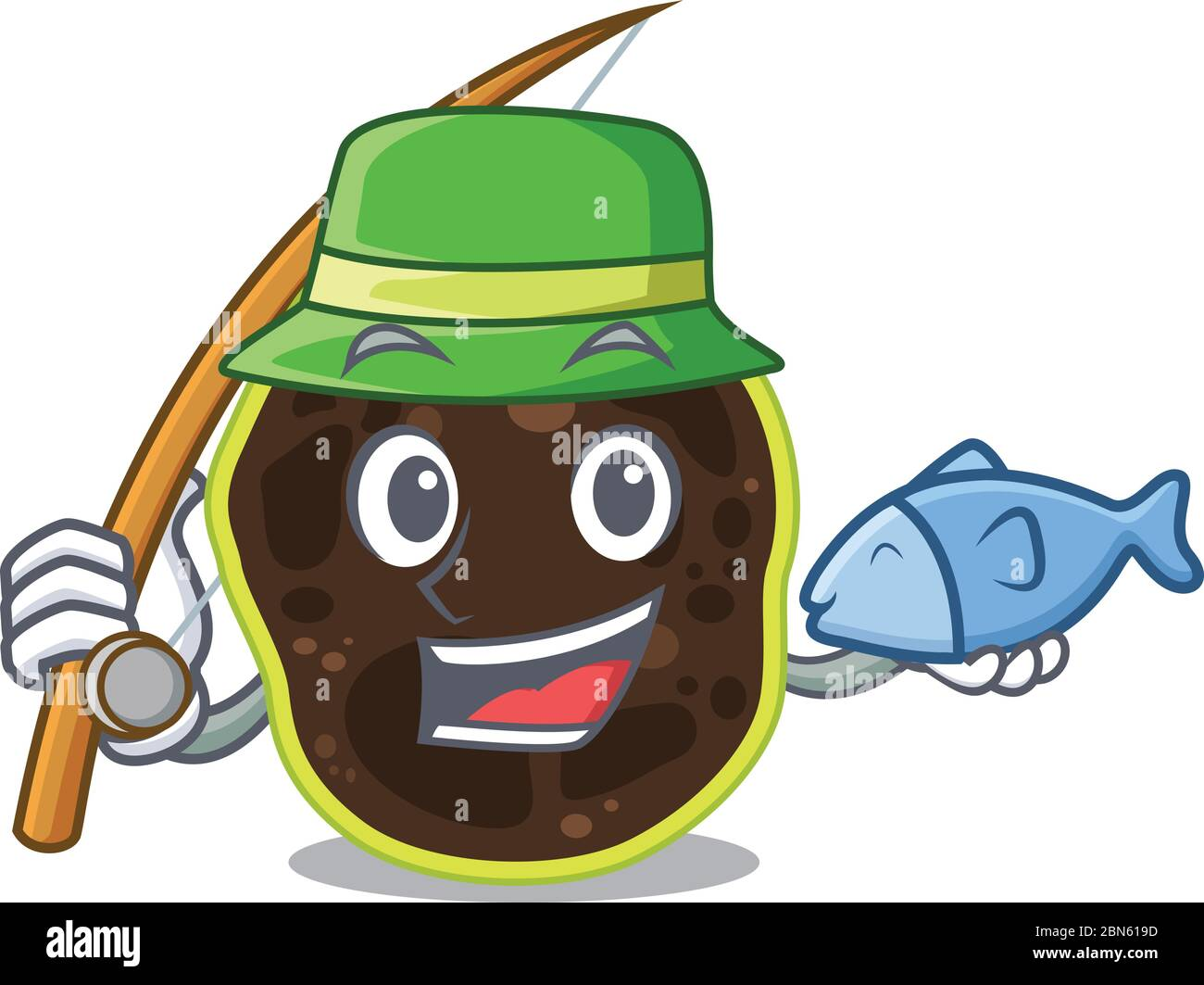 Cartoon design style of firmicutes goes to fishing Stock Vector