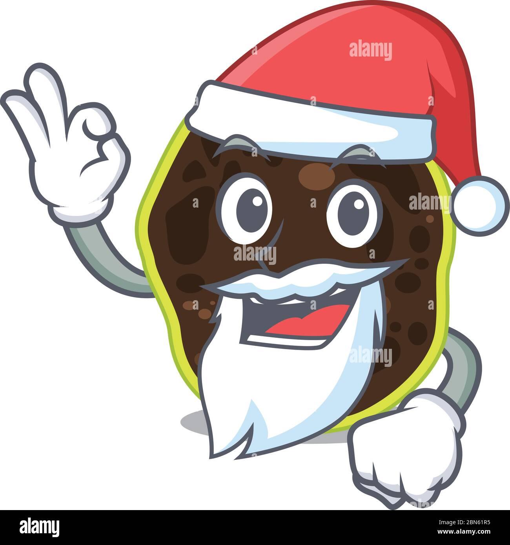 cartoon character of firmicutes Santa having cute ok finger Stock Vector