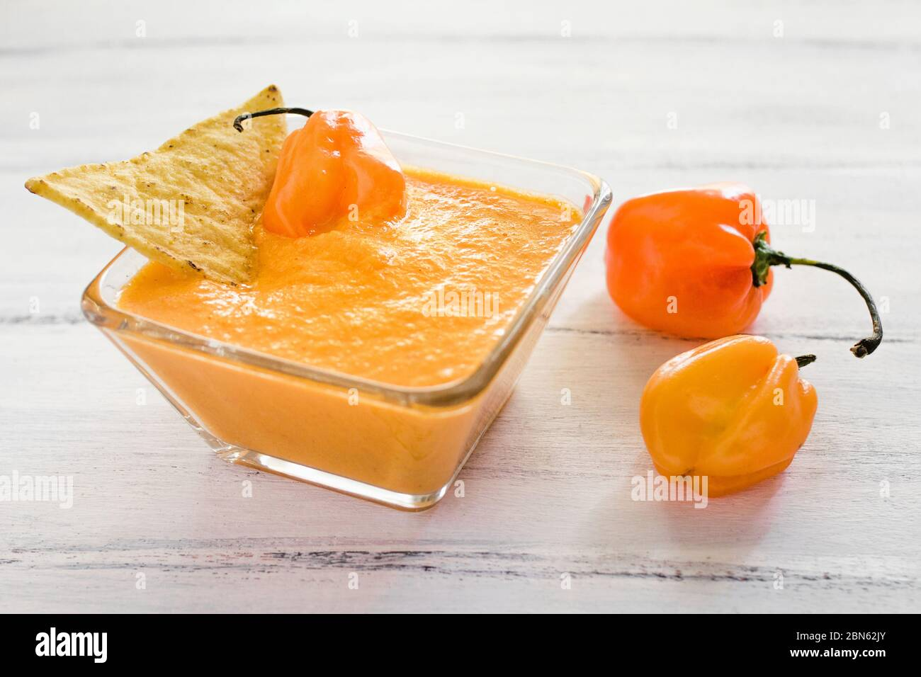 Habanero Sauce Salsa De Chiles Habaneros Spicy Ripe Habanero Hot Chili Peppers Mexican Food In Mexico Stock Photo Alamy