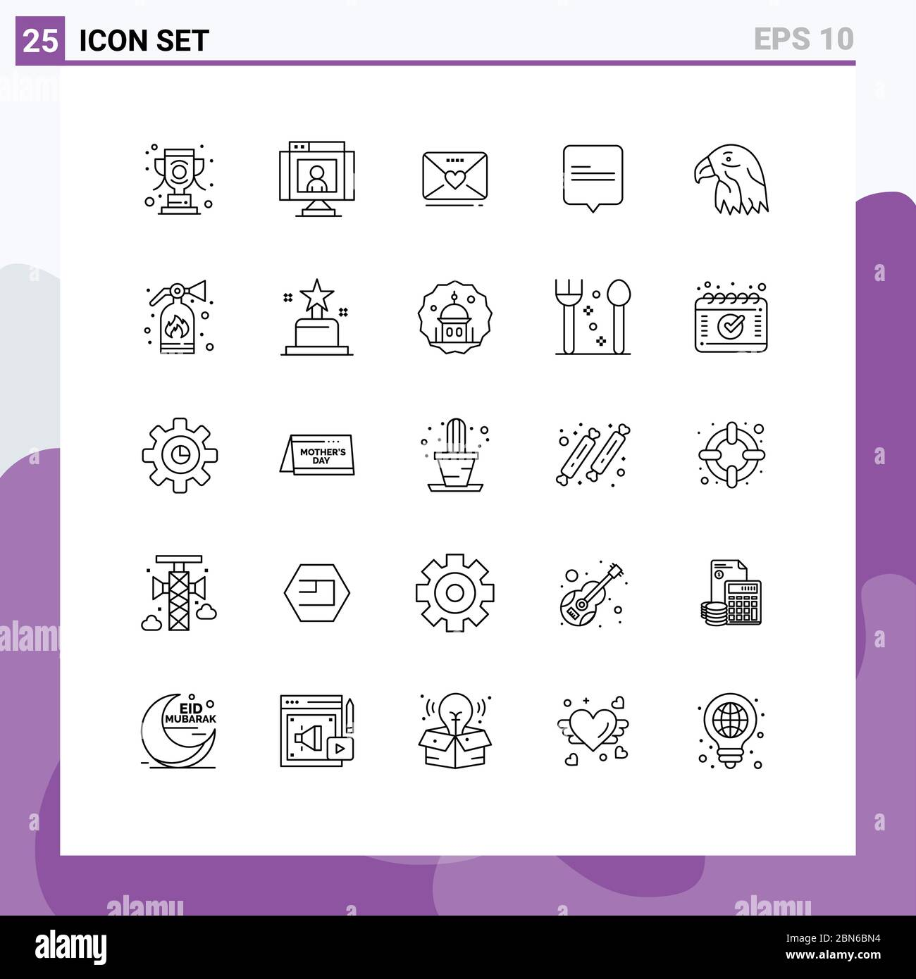 User Interface Pack Of 25 Basic Lines Of Bird Message Webcam Comment Heart Editable Vector Design Elements Stock