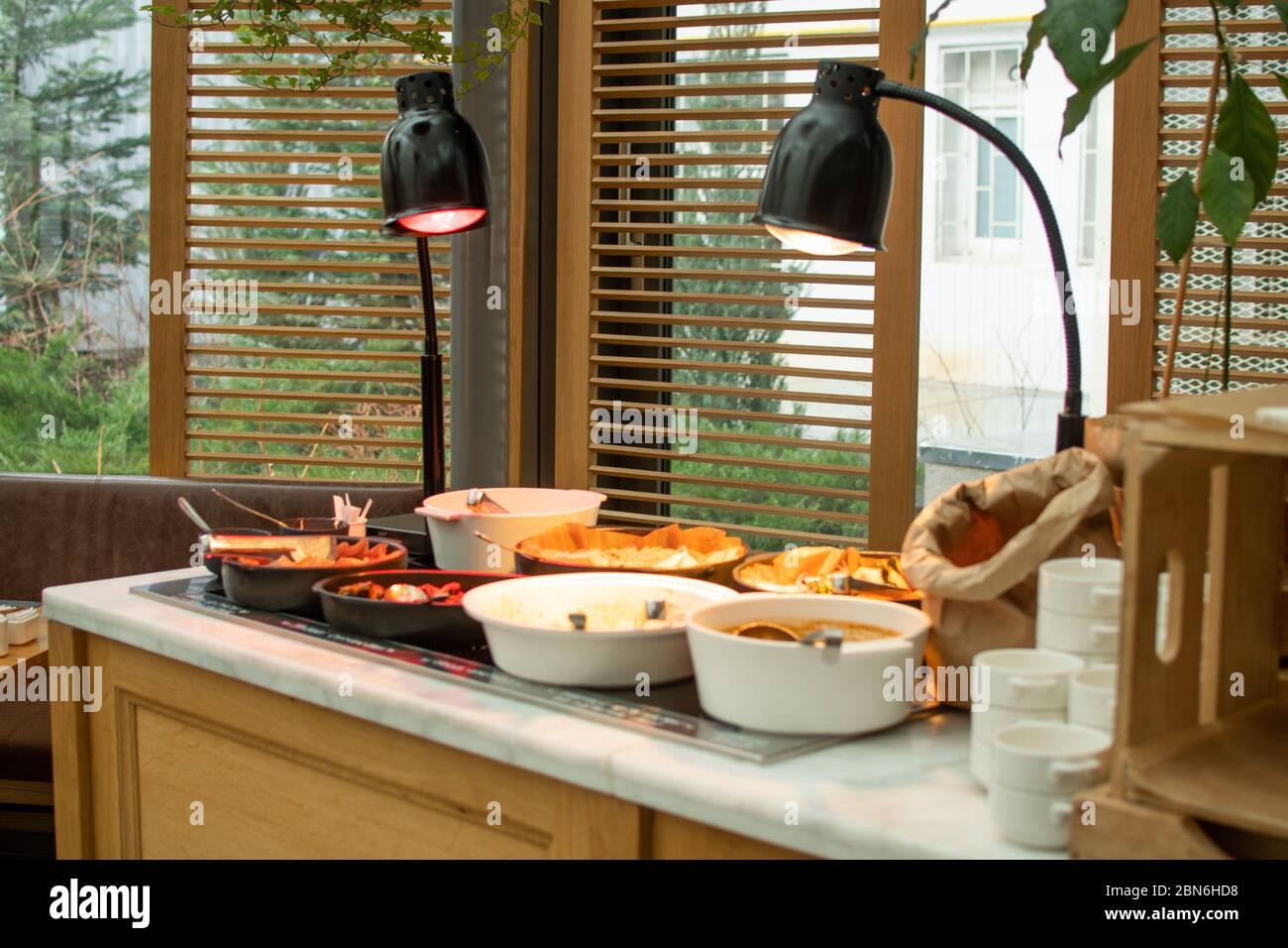 Live Food Stations Kitchenware In The Line Catering Summer Brunch Buffet Food Luxury Hotel Outdoor Outside Garden By The Pool Al Fresco Restaurant Co Stock Photo Alamy