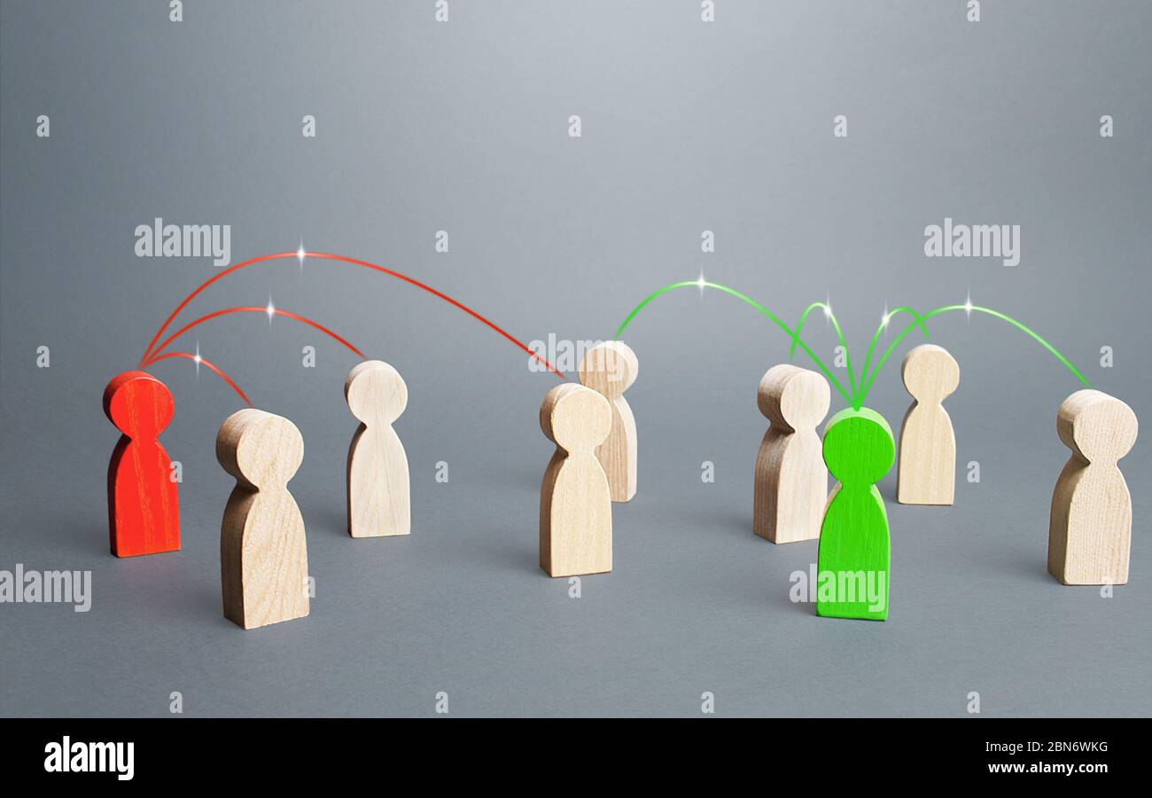 Red and green persons compete for influences on other people. Build support, strengthen your position in a dispute or election. Luring people to their Stock Photo