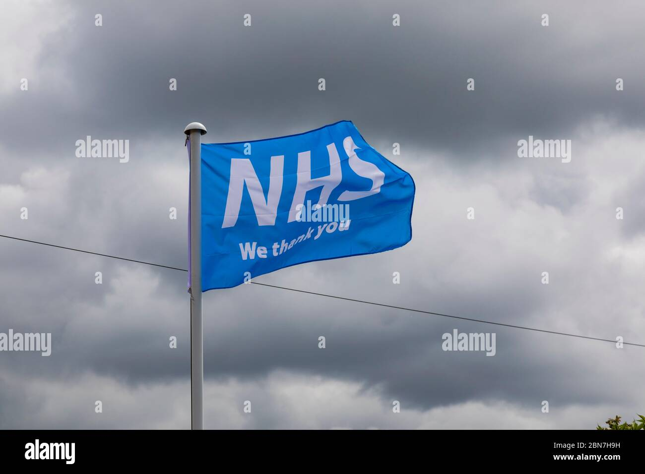"""Thank you NHS"" flag flying during the Covid-19 Corona virus pandemic, England May 2020 Stock Photo"