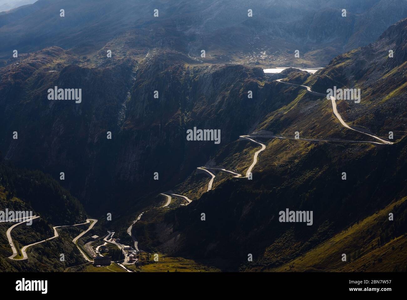 View of Grimsel mountain pass road from Furkapass Stock Photo