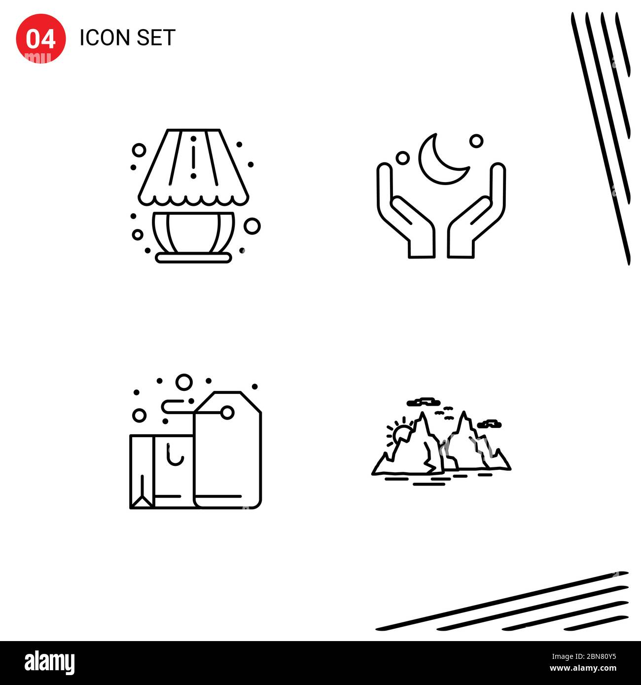 4 Line Concept For Websites Mobile And Apps Home Decorate Badge Lighting Moon Gift Editable Vector Design Elements Stock Vector Image Art Alamy