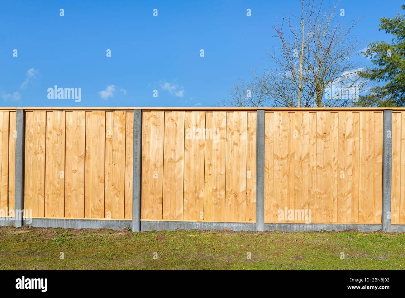 Picture of: Built New Horizontal Wooden Fence Construction In Dutch Backyard Stock Photo Alamy