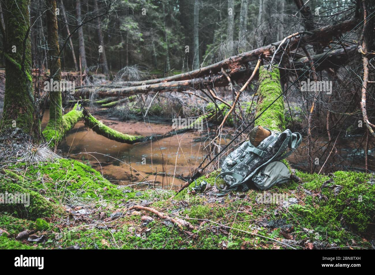 Fishing equipment on a background of forest stream. Stock Photo