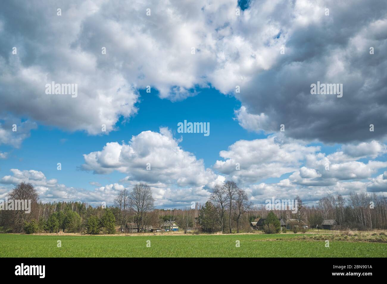 The outskirts of the village in spring. Belarus. Stock Photo