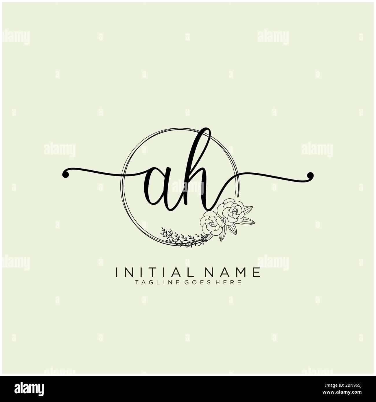 Initial Ah Beauty Monogram And Elegant Logo Design Stock Vector Image Art Alamy