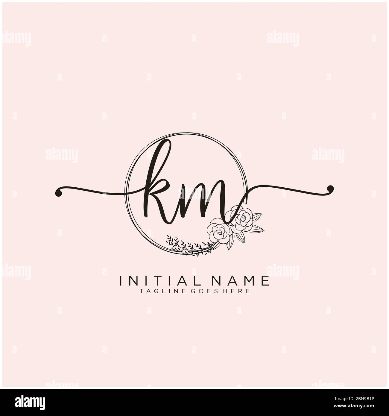 Initial Km Beauty Monogram And Elegant Logo Design Stock Vector Image Art Alamy