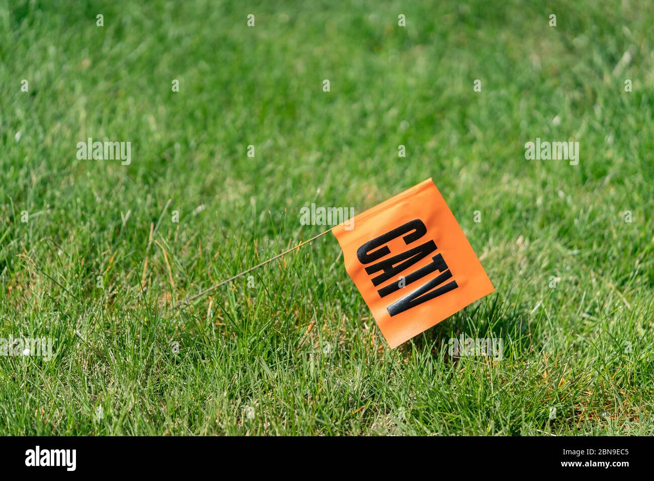 CATV in black letters on an orange flag stuck in a green grass lawn for call before you dig service Stock Photo