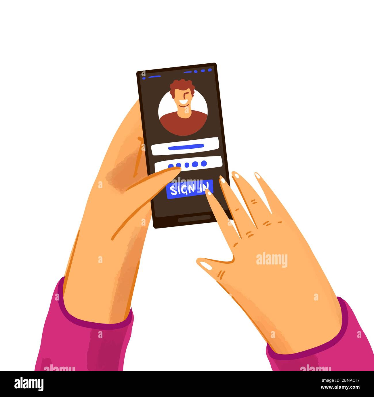Hand with phone vector concept with user, logging in site or application. Login screen on a smartphone with man or woman hands, isolated on white Stock Vector