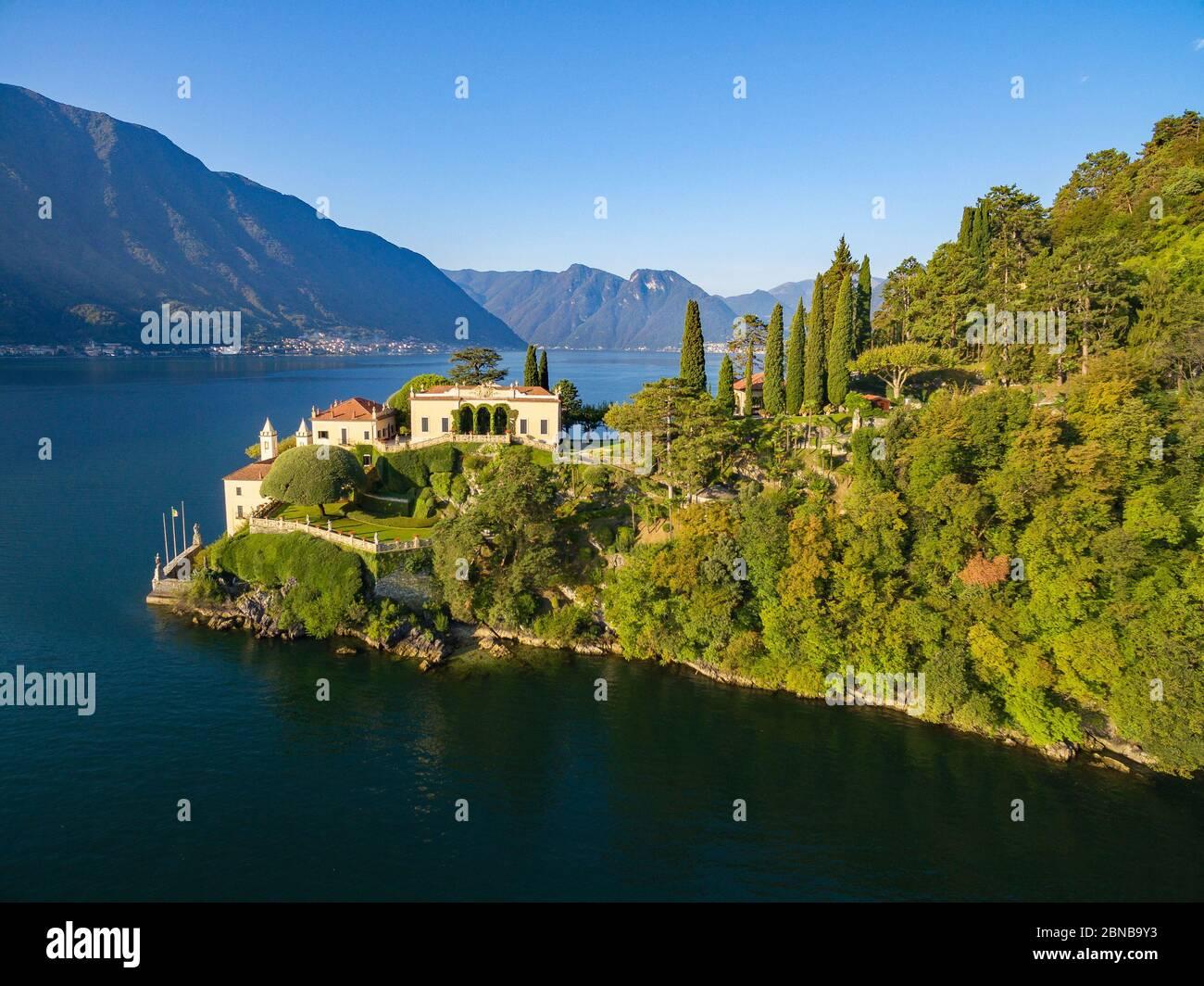 Villa del Balbianello (1787) - Lavedo - Lenno - Lake Como (IT) - Panoramic Aerial View Stock Photo