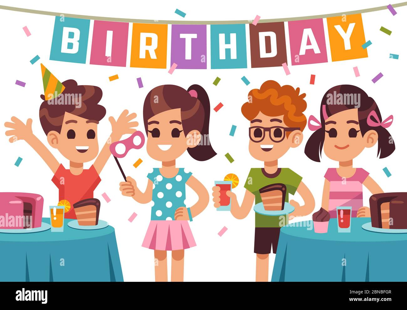Children Birthday Party Kids Celebrating Anniversary Vector Birthday Background With Cartoon Boys And Girls Illustration Of Anniversary Kids Party Girl And Boy On Birthday Holiday Stock Vector Image Art Alamy