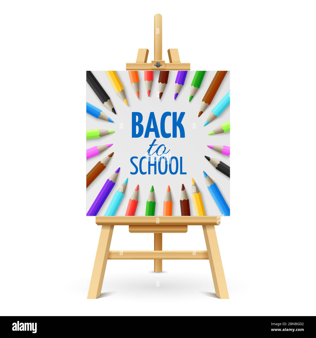 Learning and school education vector concept. Back to school background with 3d colored pencils on wood easel isolated on white background. Illustration of back school on easel Stock Vector