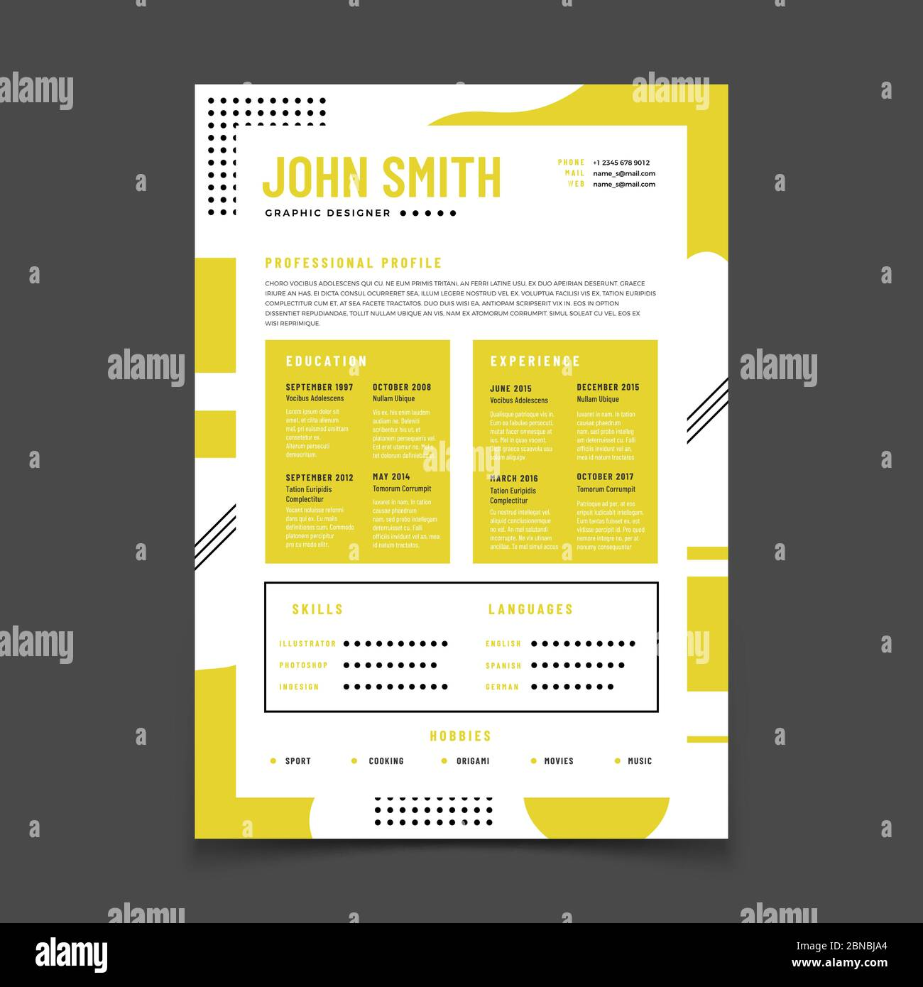 Cv Design Professional Resume With Business Details Curriculum