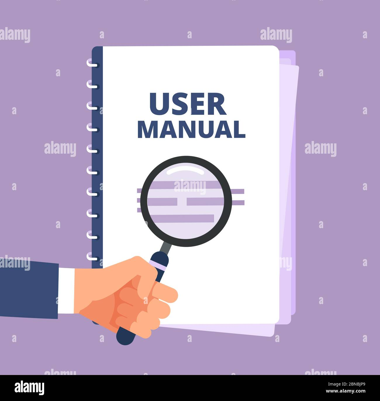User manual with magnifying glass. User guide document and magnifier. Handbook, handbook, instruction and guidebook vector icon. Illustration of instruction handbook with information help Stock Vector