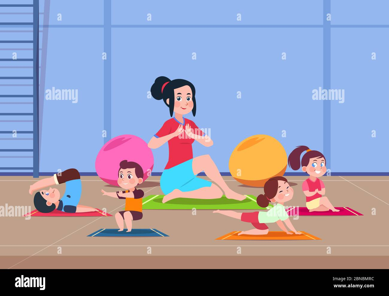 Kids In Yoga Class Cartoon Children With Instructor Doing Yoga Exercises In Gym Interior Healthy Lifestyle Vector Concept Illustration Of Yoga Exercise Kids Class Stock Vector Image Art Alamy