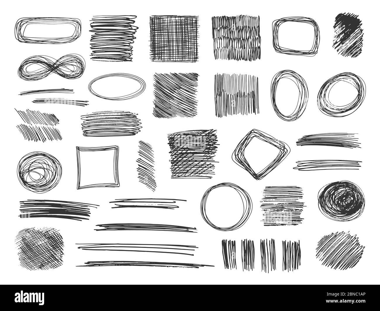 Sketch shapes. Hand drawn scribble frames. Pencil doodles ...