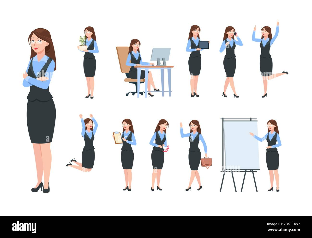 Professional Career Business Cartoon Woman High Resolution Stock Photography And Images Alamy
