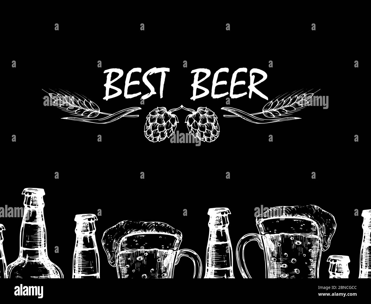 Vector retro background with doodle beer bottles and glasses. Illustration of beer drink alcohol drawing Stock Vector